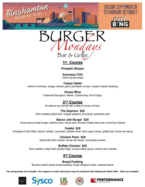 burger_mondays_dinner Restaurant Week Menus