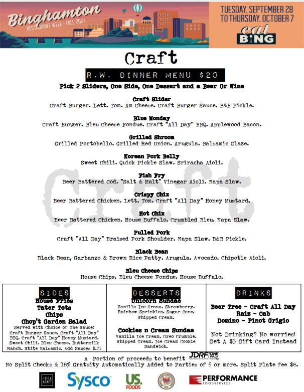 craft_d Restaurant Week Menus