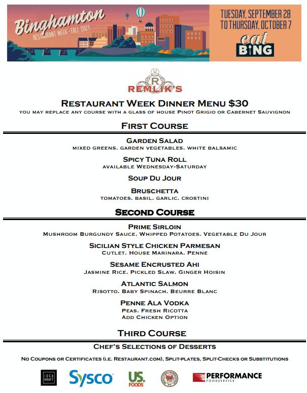 remlicks_dinner Restaurant Week Menus